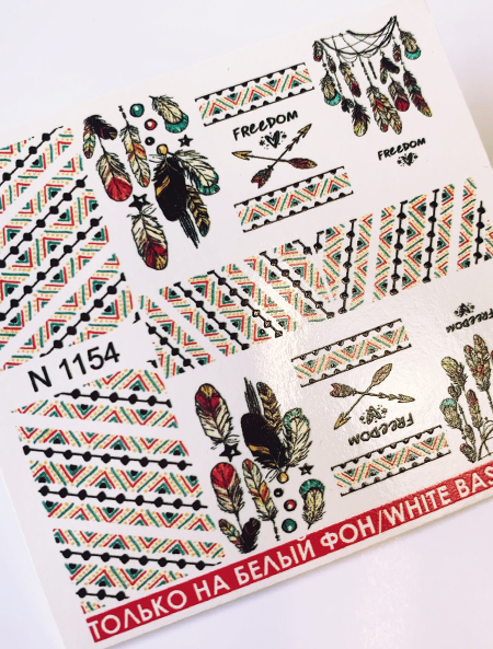 Water decals, nail stickers N 1154