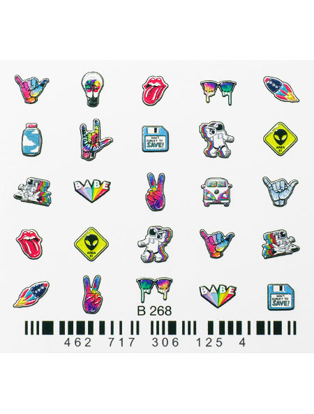 Water decals, nail stickers 3D-слайдер B268 image
